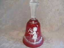 Vintage Cranberry Red Glass Mary Gregory Hand Painted Girl Bell
