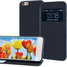 Handytasche für Apple iPhone 6 PLUS Blau mit Fenster + Standfunktion Case Cover