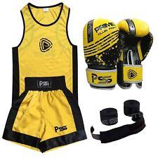 Boxing kids Uniform Yellow Set 3 Pcs boxing uniform + boxing Gloves + Wraps 1004