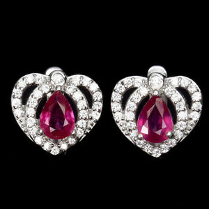 Pear Red Ruby 4x3mm Cz 14K White Gold Plate 925 Sterling Silver Earrings