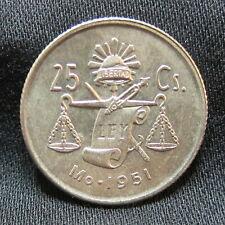 1951 Mexican 30% Silver AU+ 25 Centavos - ROUND CAP & RAY BALANCE SCALE COIN