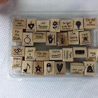 Stampin' Up! Mini Mates Rubber Mounted Wood Stamp Set of 28