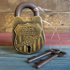 Union Pacific Overland Railroad Lock, Heavy Solid Brass With Antique Finish