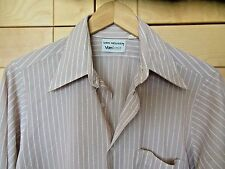Vintage Van Heusen Mid Century Mod Vanknit Men's Brown Stripe Shirt 15-32, S