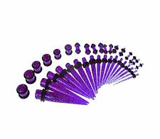 36pcs Gauges Kit Plug Taper Purple Glitter 14G-00G Ear Piercing Body Jewelry