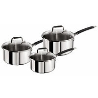 Tefal 3 Piece Jamie Oliver Stainless Steel Saucepan Cooking Pans Cookware Set