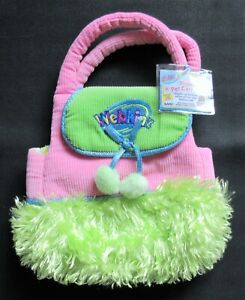 Webkinz NEW 'Plush Pet Carrier' PINK & Lime Green --  WITH NEW CODE -- HC100