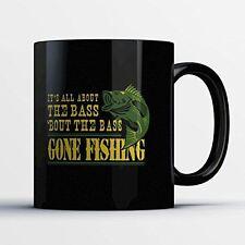Fishing Coffee Mug - All About The Bass - Funny 11 oz Black Ceramic Tea Cup - Cu