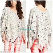NWT Anthropologie SW Bohemian Tart Fringe Poncho Boho Sweater Wrap $238 OS