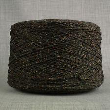 4 Capas de Lana de Cordero Seda Bourette Negro & Arcoíris hilo salpicado 500g Cono 10 bolas de lana