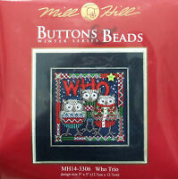 Mill Hill Cross Stitch Bead Kit 'Who Trio' Owls Christmas 14-3306