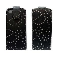 For Apple iPhone 5C Bling Diamante Glitter Flip Black Pu Leather Case Cover