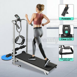LCD Display Manual Treadmill Sit Up Waist Twisting Exercise Machine Home Gym
