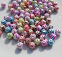 12) 100 Perlen ø 8 mm Kunststoff Buntmix gemustert Basteln Armband Halskette