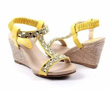 Yellow Wedges Sandals Ankle Strap Platform Womens High Heels Shoes Size 6.5