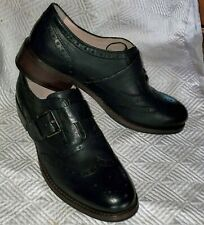 CLARKS Tomina Mia BLACK Buckled Monk Strap Wing Tip Brogues Womens 9 M NWT