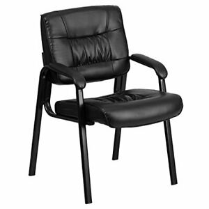 Black Leather Executive Side Reception Chair with Black Frame Finish - BT-140...