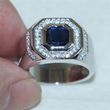 Mens White Gold Over Sapphire & Diamond Wedding Pinky Band Ring 2.00 Carat