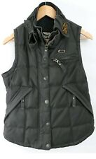 SUPERDRY womens waxed Gilet Size SMALL Brown Colour Bikers Jacket Outdoors Coat