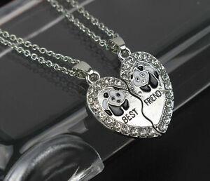 NEW BEST FRIEND Panda Heart Pendant Necklace BFF
