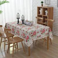 """Enova Home 54""""x 80 """" Rose Print Rectangle 100% Cotton and Linen Tablecloth Decor"""