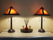 Arts and Crafts, Amber Mica Shade Table Lamp with Twin Switch Chains