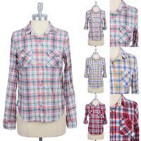 Women's PLAID SHIRT Pocket Roll Up Sleeve Cotton Button Down Top Blouse S M L