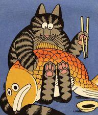 NWT XL MEN KLiBAN SASHiMi CAT FiSH Chopstick KiLBAN CRAZY SHIRT BLUE HAWAII DYED