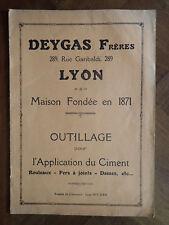 DEYGAS Frères~ OUTILLAGE pour L'APPLICATION du CIMENT~LYON~ROULEAUX-FERS à JOINT