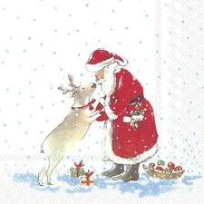 4 x Single Paper Napkins/3 Ply/Decoupage/Craft/Christmas/Santa's Best Friend