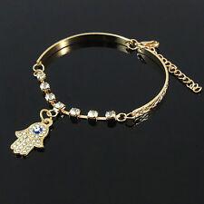 Hamsa Fatima Hand Armband Gold 15 cm + 5 cm mit Strass