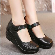 Womens Wedge Heels Round Toe Marry Janes Ankle Strap Nurse Shoes Pumps Retro sz