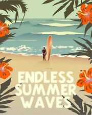 "10"" x 8"" ENDLESS SUMMER WAVES SURFING NEWQUAY CORNWALL METAL PLAQUE SIGN N098"