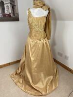 Ava's Elegant Sleeveless Wedding ,Party, Prom, Dinner Cosplay Dress Yellow Gold