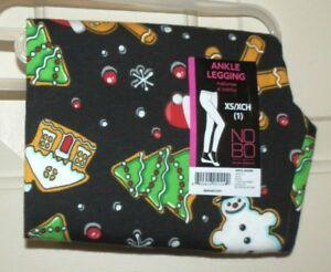 New Juniors M (7-9) Black Christmas Cookies Ankle Leggings