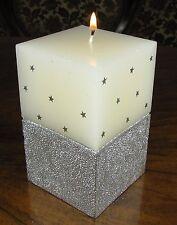 Kerze Weihnachten Silber Sterne Stumpenkerze 4 eckig edel gross Neujahr NEU TOP