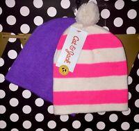 NEW Cat & Jack Girls 2 Pk Beanie Hat Pink/White Stripe Purple One Size