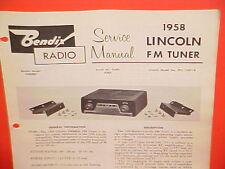 1958 LINCOLN CONTINENTAL MARK III CAPRI FM TUNER BENDIX RADIO SERVICE MANUAL 58