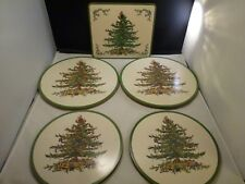VINTAGE  Set of 5  Spode Christmas Tree Placemats   MADE IN   ENGLAND  4 ROUNDS