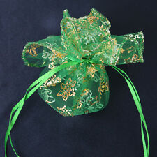 50pcs Hot Sale Green Color Golden Snowflake Round Wedding Organza Pouch Bags D