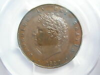 GREAT BRITAIN UK England Half Penny 1827 PCGS AU 55 UNC