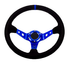 RALLY DRIFT Style Steering Wheel Black Suede with Blue Centre Spars 70mm PCD 13""