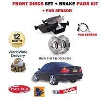 FOR BMW 316i E46 2001-2005 FRONT BRAKE DISCS SET AND DISC PADS SET + SENSOR KIT