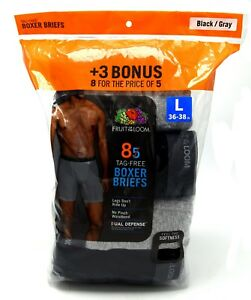 8 Black Gray Large L 36-38 Inch Boxer Briefs Fruit Of The Loom G 91-97 CM
