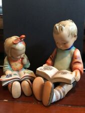 "Lot x2 Goebel HUMMEL Figurines ""Bookworm"" 8, TMK2 & ""Bookworm Boy"" 14A, TMK3"