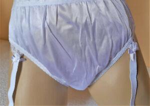 White Silky High Leg Nylon Panties Midi Knickers & Suspender Garter Belt L 14
