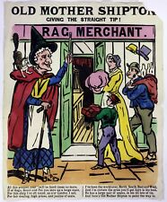 1890 Old Antique 19th Century Victorian Poster Old Mother Shipton Rag & Bone