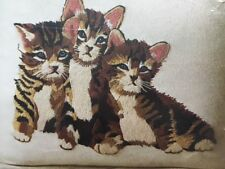 Vintage Three Little Kittens Cats Tabby Crewel Pillow Kit Erica Wilson 1976 OOP