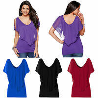 Womens Cold Shoulder Loose T-shirt Blouse Batwing Short Sleeve Summer Boho Tops