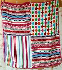 "Baby Gap Colorful Fair Isle Knit Diamonds Stripes Blanket Girl Nursery 34"" x 34"""